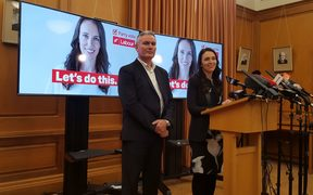 "Labour leader Jacinda Ardern, right, and deputy leader Kelvin Davis unveil the party's new slogan ""Let's do this."""