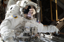 Mike Hopkins during the first spacewalk.