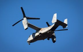 The MV-22 Osprey aircraft used by the US Marine Corps.