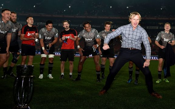 Crusaders head coach, Scott Robertson doing the victory dance during the 2017 Super Rugby Final match at Ellis Park, Johannesburg, 05 August 2017.