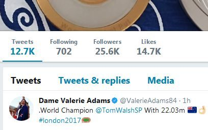 Val Adams congratulates Tom Walsh on social media.