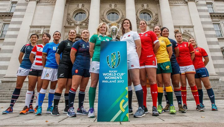 Team captain's pose with the World Cup trophy ahead of the women's Rugby World Cup.