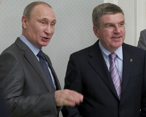 IOC president Thomas Bach, right, with Russian leader Vladimir Putin.