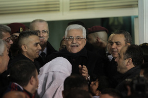 Palestinian President Mahmoud Abbas greeted the released prisoners in the West Bank city of Ramallah.