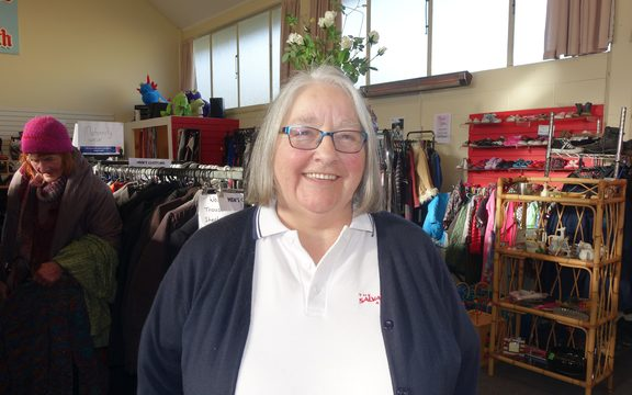 Salvation Army's Captain Sharryn McAuliffe in their second hand shop.