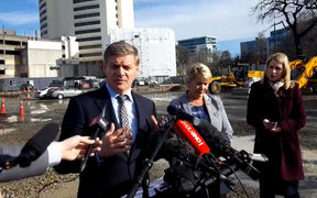 Bill English spoke on the site of the planned Christchurch Convention Centre.