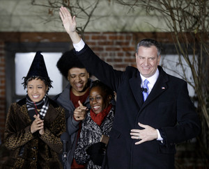 From right Bill de Blasio, his wife Chirlane McCray and children Dante and Chiara.