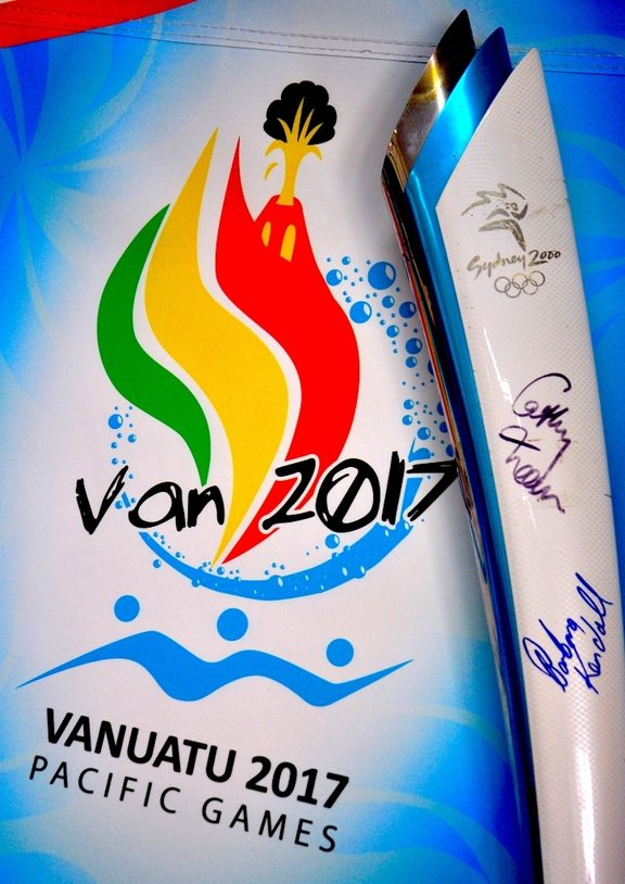 The Olympic torch from Sydney 2000 being auctioned in support of Team Vanuatu.