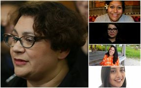 Former Green Party co-leader Metiria Turei and (from top) Ema Tavola, Madeleine de Young, Shilo Kino and Leah Damm.