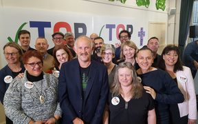 TOP leader Gareth Morgan and candidates at the party's campaign launch in Wellington.