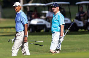 Barack Obama and John Key at the Kaneohe Klipper Golf course.