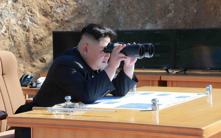 Kim Jong-Un inspecting the test-fire of intercontinental ballistic missile Hwasong-14 at an undisclosed location.