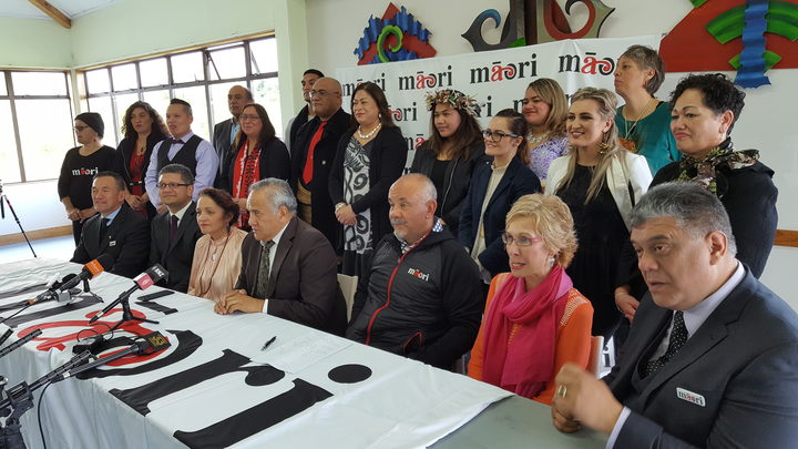Māori Party members face the media at their campaign launch at Manurewa marae in Auckland.