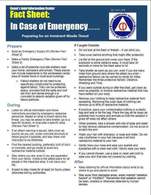 "Guam's Homeland Security Department on Friday released this pamphlet: ""In Case of Emergency - Preparing for an Imminent Missile Threat."""