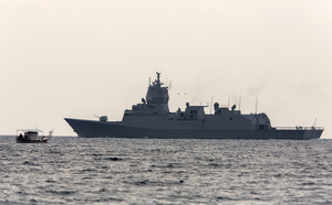 The Norwegian frigate Helge Ingstad leaves from Cyprus on Friday.