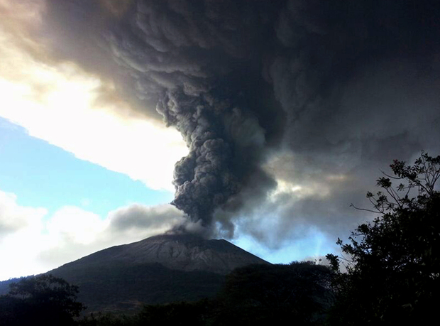 The Chaparrastique volcano on Sunday.