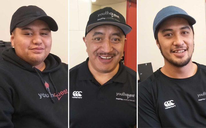 Left to right: YouthQuest volunteer and alumni Piripi Wallace; Kāpiti area manager Terry Poko; Piripi's brother and fellow YouthQuest volunteer Adrian Wallace