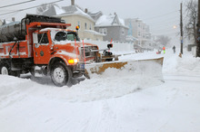 A snow plow in Winthrop Massachusetts.