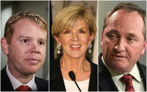 Chris Hipkins (left), Julie Bishop, and Barnaby Joyce.