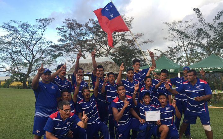 Samoa celebrate another win against Fiji.