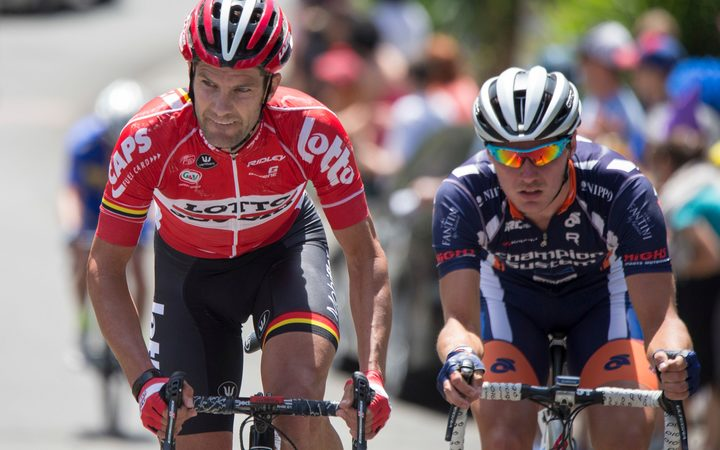 Greg Henderson (left) competes at the national road cycling champs in Napier in 2016.