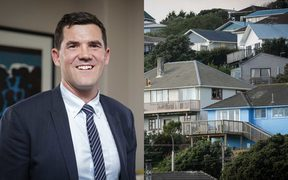 Wellington Mayor Justin Lester, left, and a file photo of housing in the region, right