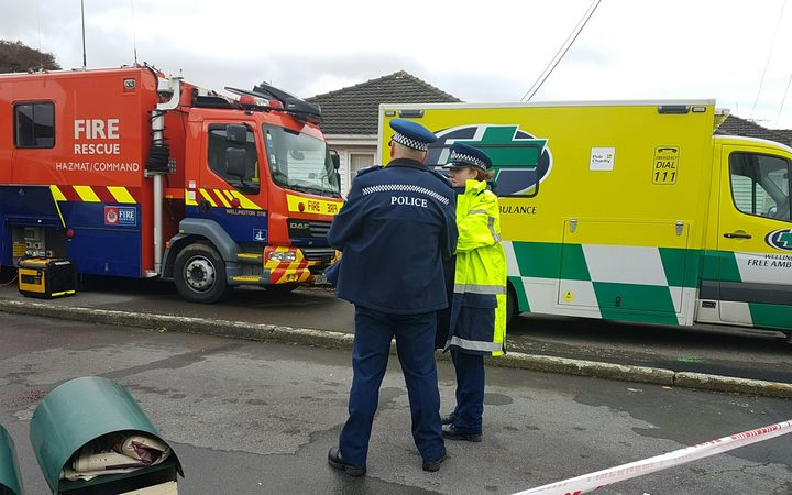An ambulance and fire engine at the cordoned off scene in Lower Hutt.