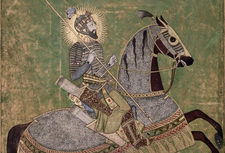 Aurangzeb Horseback | This portrait of the Mughal Emperor Aurangzeb mounted on a horse, and ready for battle, was originally produced circa 1660.
