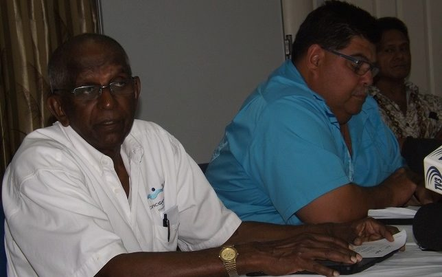 Pacific Games Council President Vidhya Lakhan and Samoa Olympic Committee President Patrick Fepulea'i.