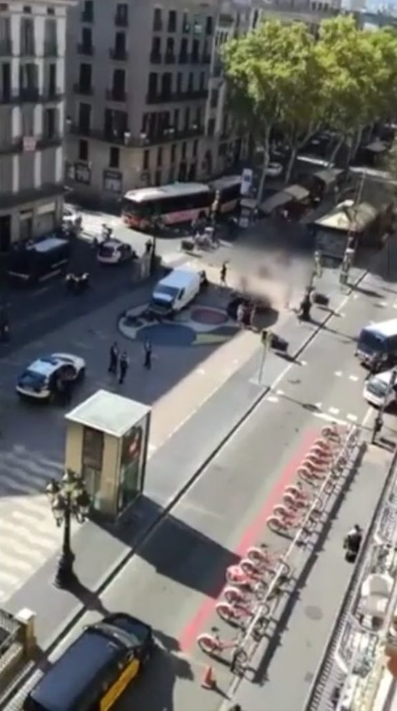 The white van at the centre of the attack can be seen surrounded by officers.