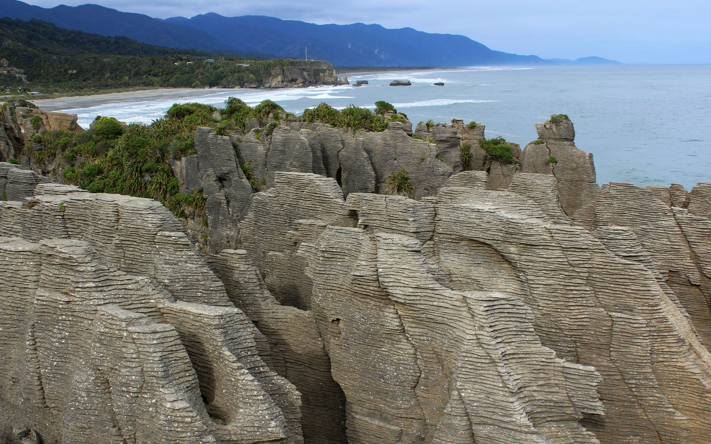View of pancake rocks and up the coast behind