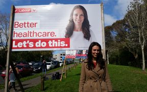 Labour leader Jacinda Ardern with the party's new billboard.