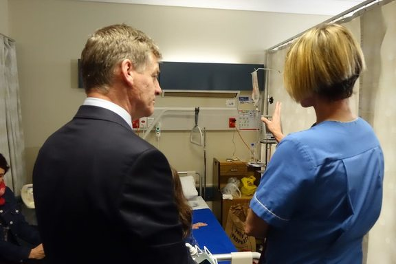 Bill English visiting a ward at Dunedin Hospital.