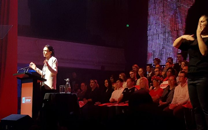 Jacinda Ardern speaking to about 2200 supporters at the Auckland Town Hall.