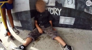 A screen grab of the boy from the video footage.