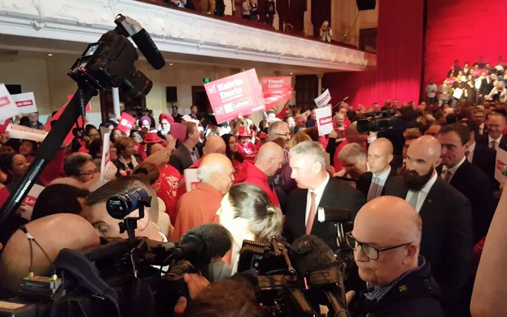 Labour leader Jacinda Ardern and her deputy Kelvin Davis exit the stage at the campaign launch.