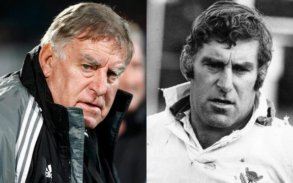 Sir Colin Meads at the All Blacks test against Wales in Dunedin, 19 June 2010, and at a rugby coaching school in Taumarunui on 30 May 1976.