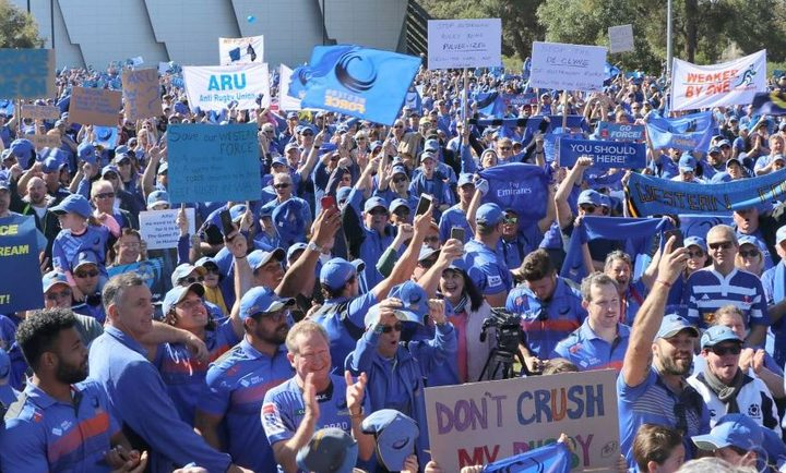Western Force supporters at the rally