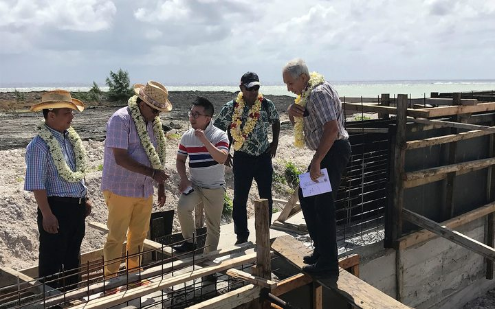 French Polynesian president Edouard Fritch visits Hao atoll to view progress on the aquaculture project being built by the Chinese company Tahiti Nui Ocean Foods