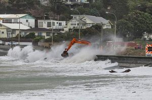 Storm repairs to a seawall at Island Bay, Wellington.