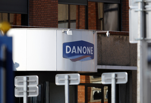 Danone sign on dairy plant in France.