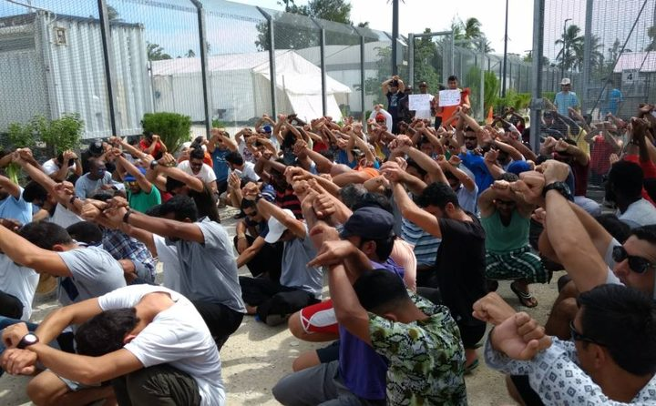 Protest in Mike compound, Manus Island detention centre, 22-8-17