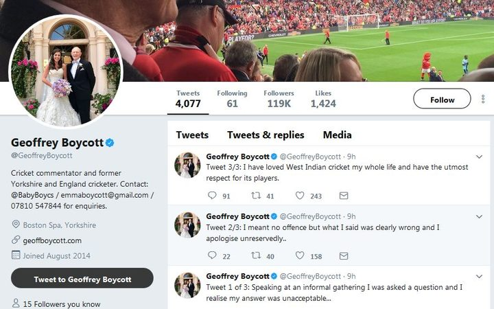 Geoffrey Boycott apologises on Twitter