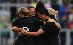 The Black Ferns celebrate after scoring a try against the US in their 2017 World Cup semi final.