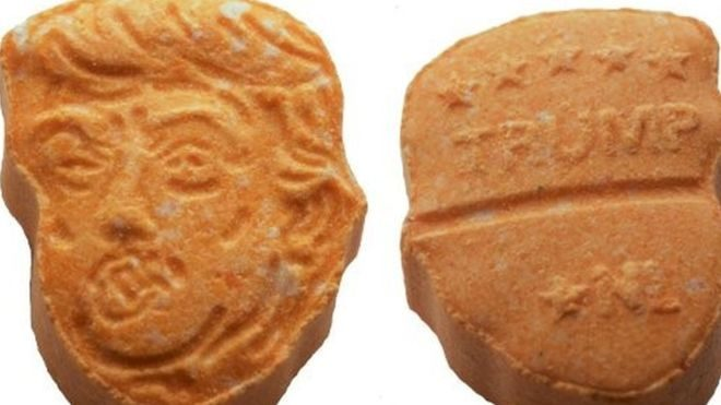 About 5000 carrot-coloured ecstasy tablets in the shape of Donald Trump's head have been seized by German police in the north-western city of Osnabruck.