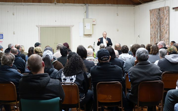 Edgecumbe residents at the town meeting to discuss the latest developments.
