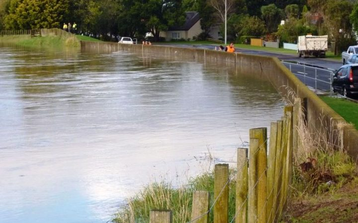The Rangitaiki River behind the stopbank on College Road, shortly before it broke through in April.