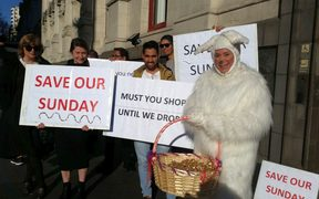 First Union members - and a giant Easter bunny - picket Auckland Councillors before their meeting on Easter Sunday trading.