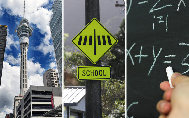 The Sky Tower, a school road crossing sign and a teacher close-up at the blackboard - in a composite photo