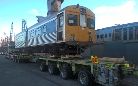One of 17 obsolete diesel units being shipped at Mount Maunganui.